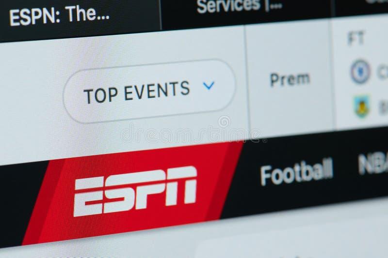 Hemsida för ESPN-sportnyheterna royaltyfria foton