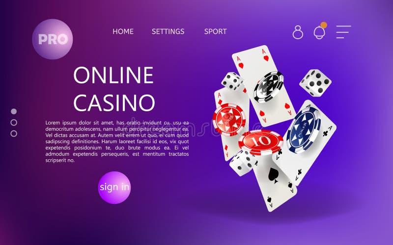 Hemsida för online-kasinowebsite vektor illustrationer