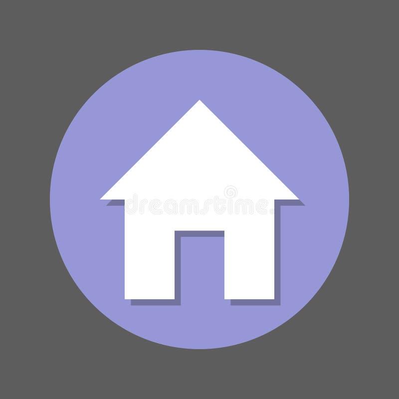 Hemsida plan symbol för hus Rund färgrik knapp, runt vektortecken med skuggaeffekt Plan stildesign stock illustrationer