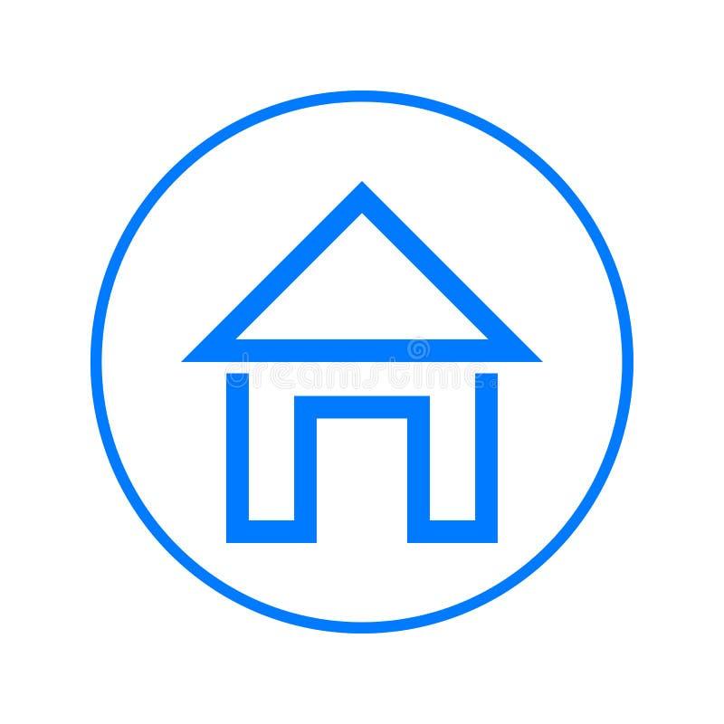 Hemsida rund linje symbol för hus Runt färgrikt tecken Plant stilvektorsymbol stock illustrationer