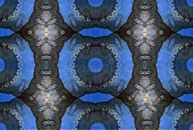 Hemskt digital konstdesign av att gripa in i varandra cirklar royaltyfri illustrationer