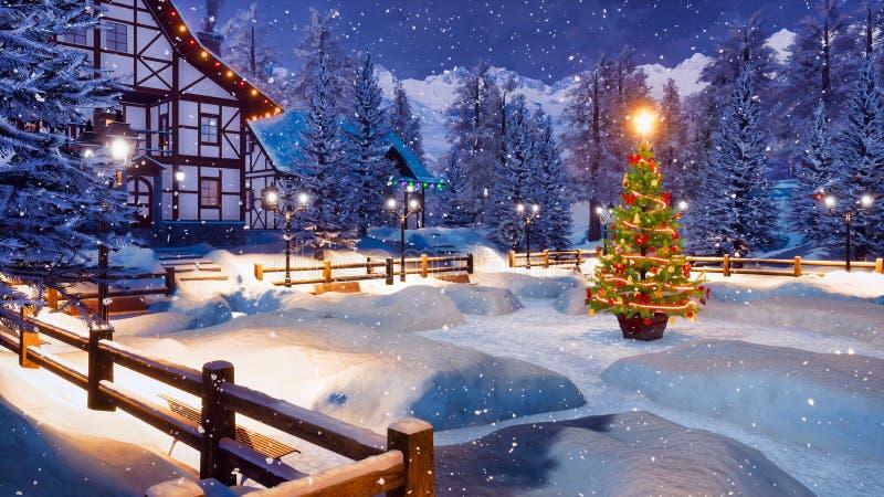 Hemtrevlig alpin bergstad på den snöig julnatten stock illustrationer