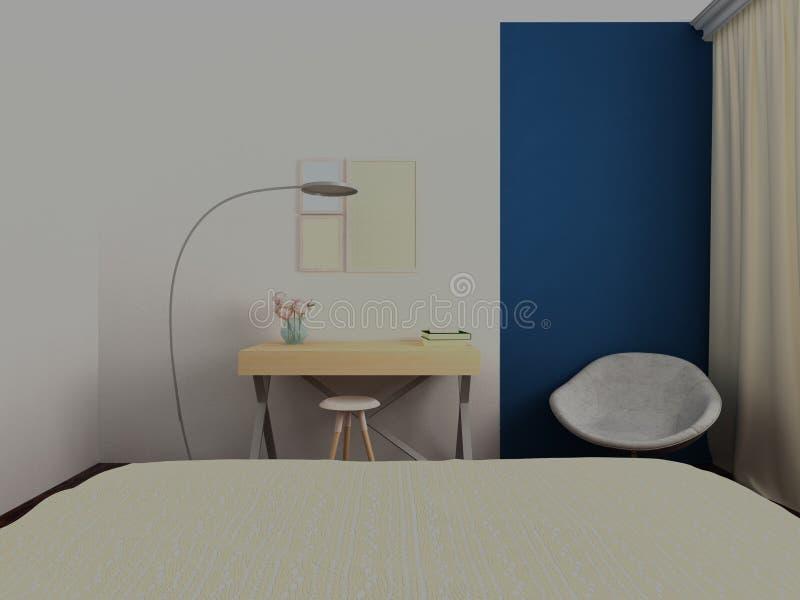 Hemtrevlig arbetsplats med den moderna lampan stock illustrationer