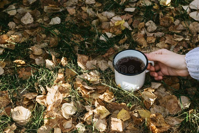 Hemtrevlig höststilleben med kvinnas hand som rymmer metallkoppen med den varma drycken på gräs royaltyfri bild
