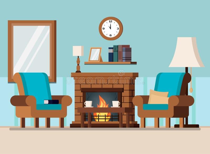 Hemtrevlig hem- vardagsrum eller kabinett inre plats royaltyfri illustrationer