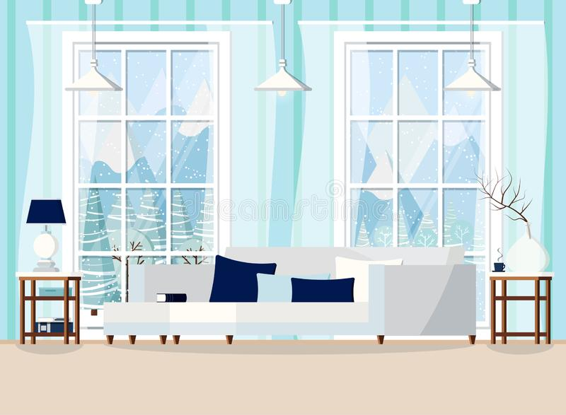 Hemtrevlig illustration för bakgrund för vektor för vardagsrumhemmiljöplats vektor illustrationer