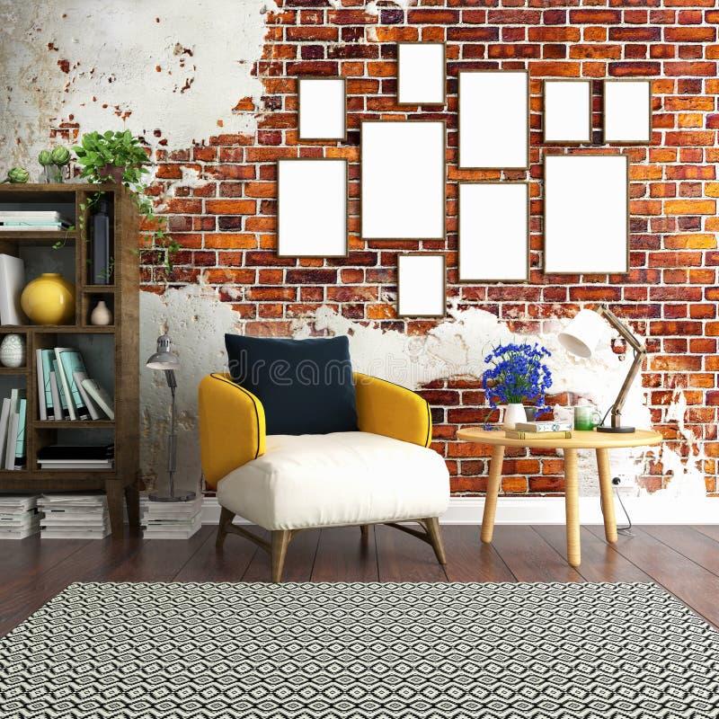 Hemtrevlig inre affischåtlöje upp med den gamla tegelstenväggen stock illustrationer