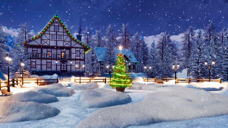 Hemtrevlig insnöad bergstad på julnatten vektor illustrationer