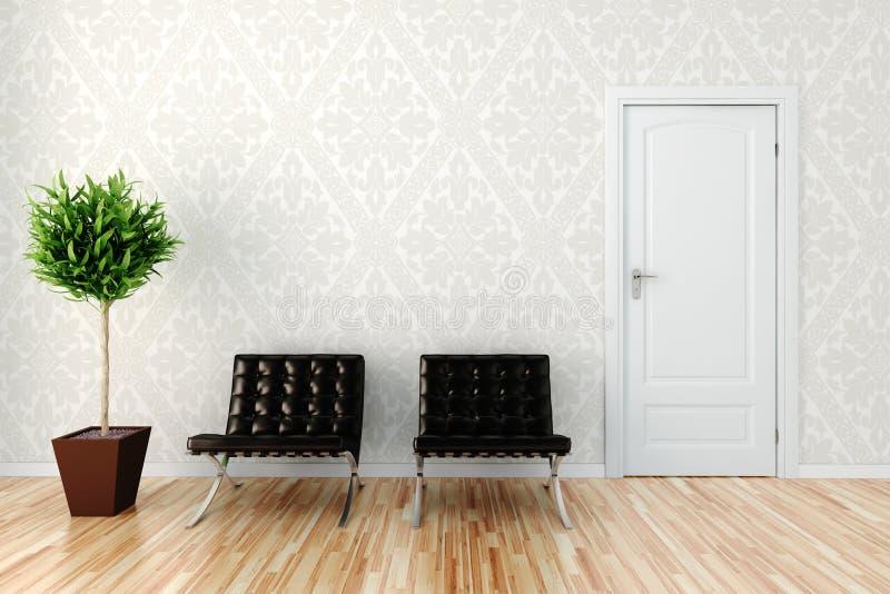 hemtrevlig interior för design 3d royaltyfri illustrationer