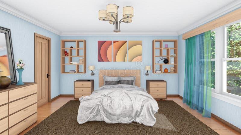 Hemtrevlig modern sovruminredesign 3D stock illustrationer
