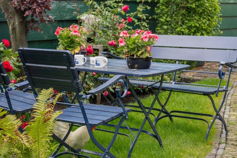Hemtrevlig sommarträdgård med den utomhus- tabellen och stolar Uteplats med tetabellen och den vita hönan under stol arkivbild