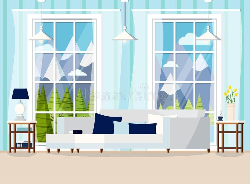 Hemtrevlig vardagsrumhemmiljöbakgrund med fönstret royaltyfri illustrationer