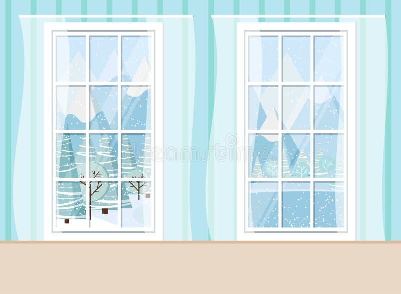 Hemtrevlig vardagsrumhemmiljöplats med två fönster för pvc för whiye plast- panorama- stock illustrationer