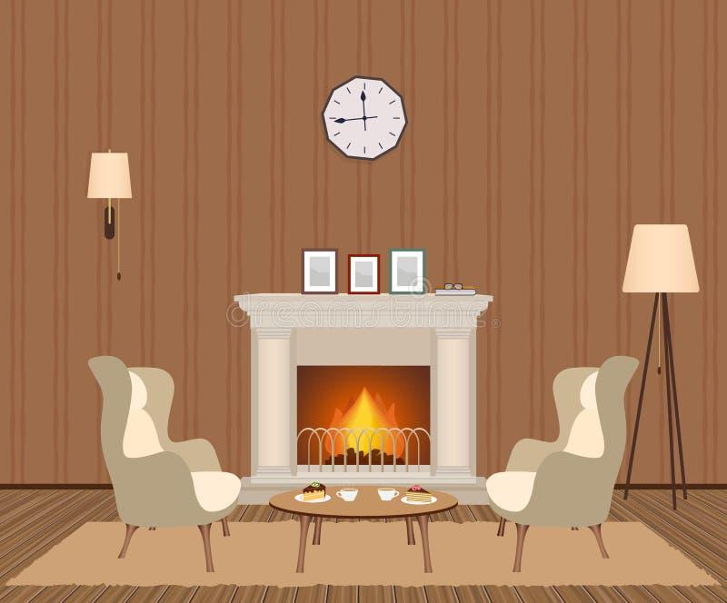Hemtrevlig vardagsruminre med spisen, fåtöljer, klockan, lampor och photoframes Inhemsk rumdesign royaltyfri illustrationer
