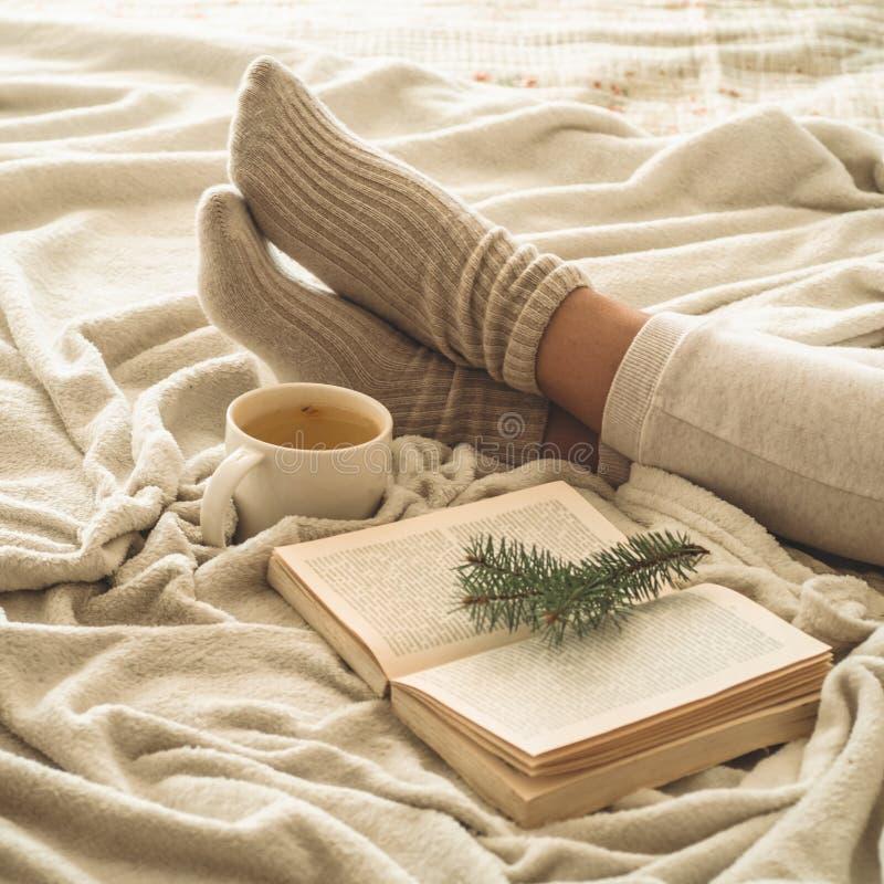 Hemtrevlig vinterafton varma woolen sockor Kvinnan är liggande fot upp på den vita lurviga filten och läseboken Hemtrevlig fritid royaltyfri bild