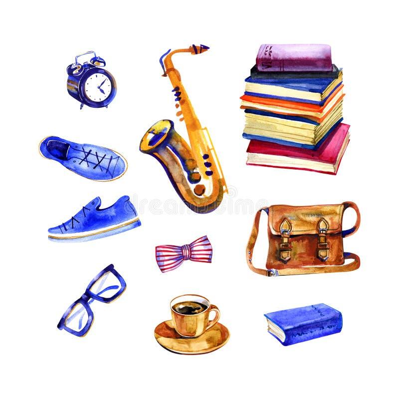 Hemtrevliga hipsterobjekt vid vattenfärgen på vit bakgrund saxofon gymnastikskor, klockor, exponeringsglas, band, påse, böcker, d royaltyfri illustrationer