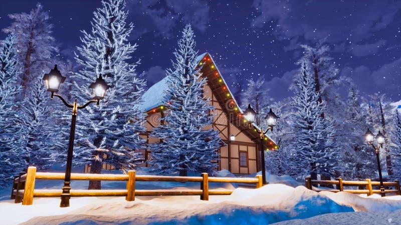 Hemtrevligt alpint berghus på den snöig vinternatten royaltyfri illustrationer