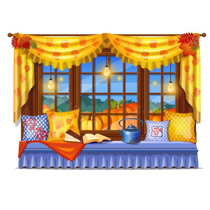 Hemtrevligt inrehemfönster Aftonsikt från fönstret av en mogen pumpa, prydliga skogläseböcker hemma slappt royaltyfri illustrationer