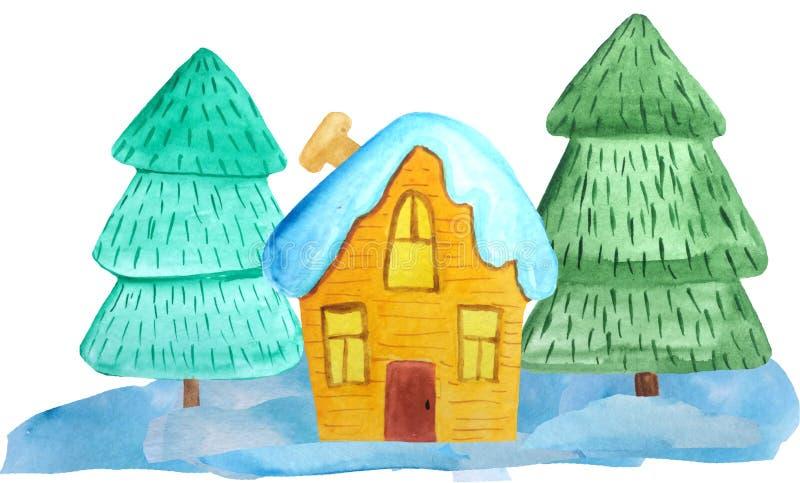 Hemtrevligt julhus i en snöig skog på en vit bakgrund vattenfärgillustration för affischer, baner invitation new year royaltyfri bild