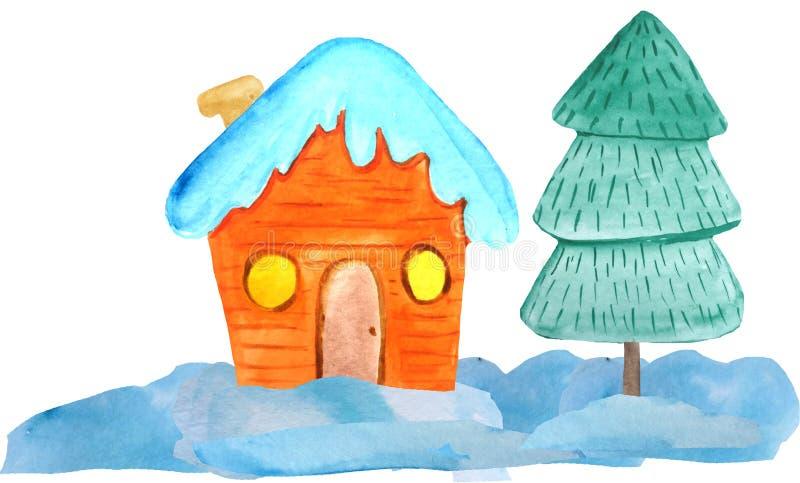 Hemtrevligt julhus i snödrivorna och ett träd på en vit bakgrund vattenfärgillustration för affischer, baner nytt ?r fotografering för bildbyråer