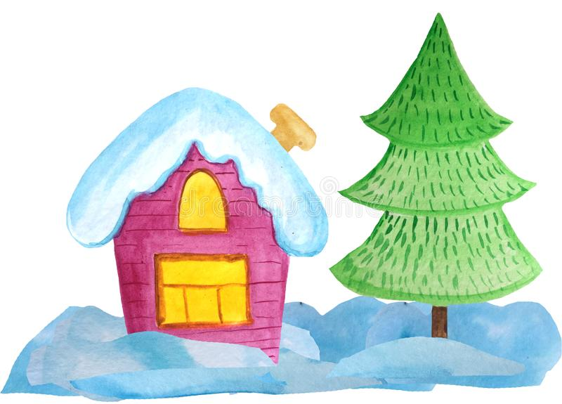 Hemtrevligt julhus på en vit bakgrund vattenfärgillustration för affischer, baner invitation new year royaltyfri foto