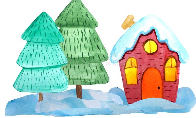 Hemtrevligt rött julhus i en snöig skog på en vit bakgrund vattenfärgillustration för affischer, baner invitation new year royaltyfri bild