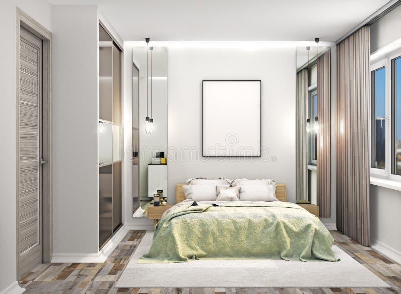 Hemtrevligt sovrum med en garderob med spegelförsedda dörrar bredvid sängen Tom kanfas hängde på väggen ovanför sängen royaltyfri foto