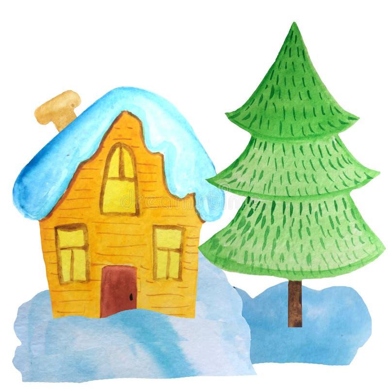 Hemtrevligt tecknad filmjulhus i snödrivorna och ett träd på en vit bakgrund vattenfärgillustration för affischer, baner nytt royaltyfri fotografi