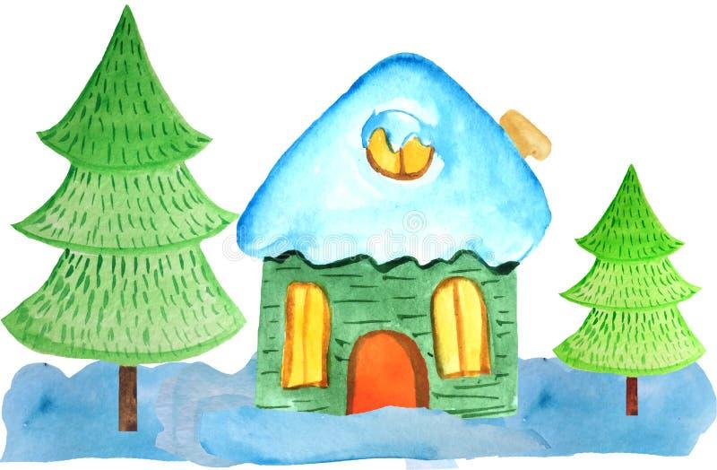 Hemtrevligt tecknad filmjulhus i snödrivorna och två träd på en vit bakgrund vattenfärgillustration för affischer, baner arkivbilder