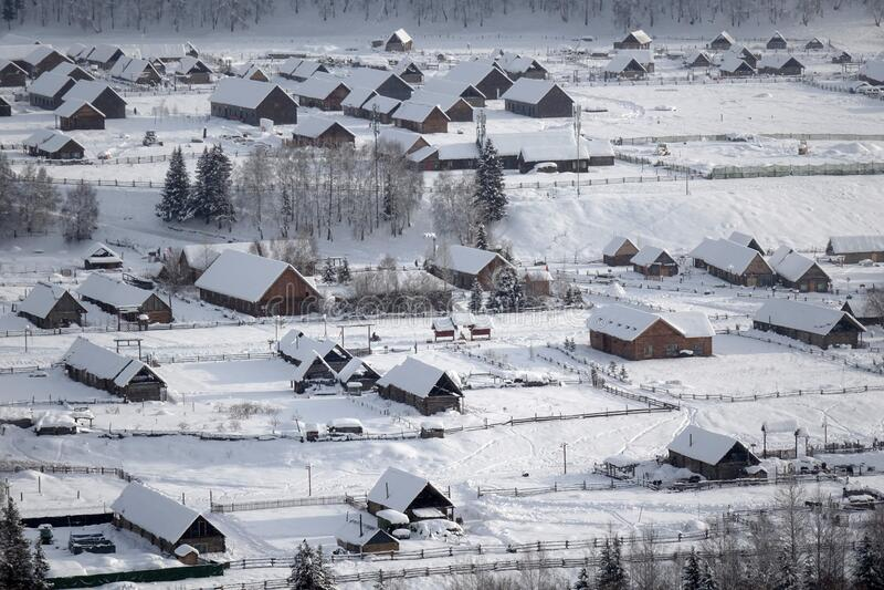 Hemu Village in winter royalty free stock image