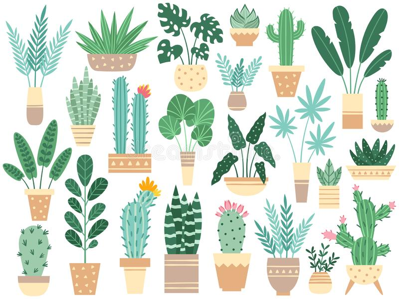 Hemväxter i krukor Naturhouseplants, garnering lade in houseplanten och blommaväxten som planterar i den isolerade krukavektorn stock illustrationer