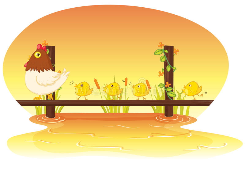Download Hen with chicken stock vector. Illustration of life, alive - 10014649