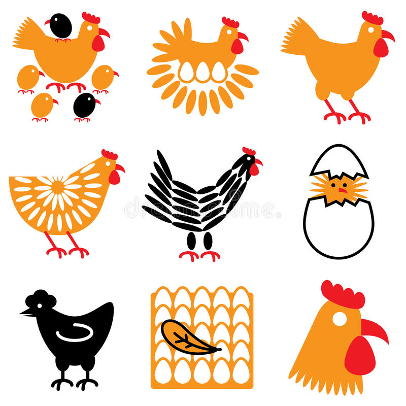 Hen and chicken icons