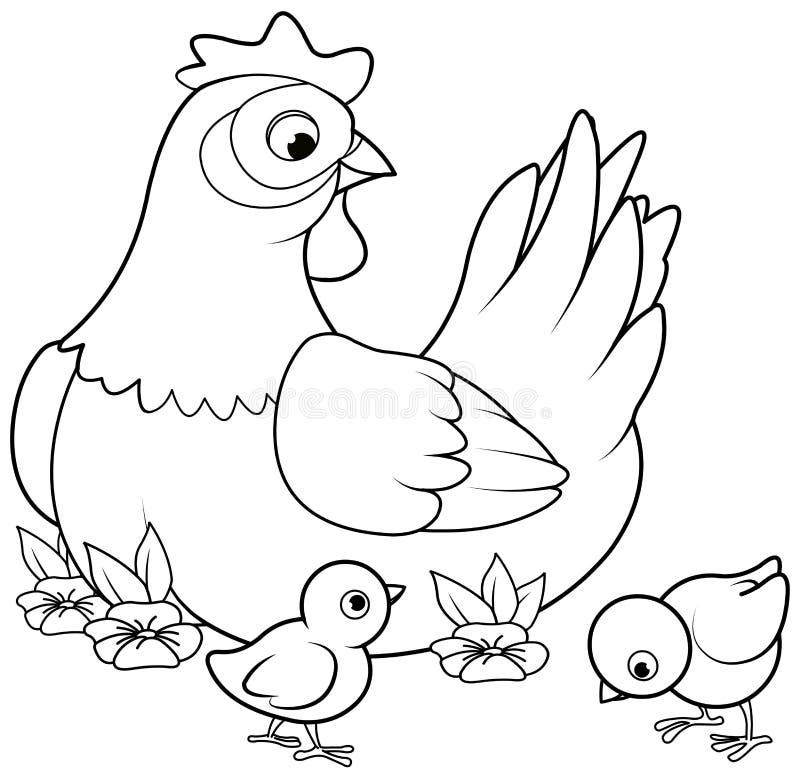 Kippen En Kuikens Kleurplaten Hen And Chicks Stock Vector Illustration Of Coloring