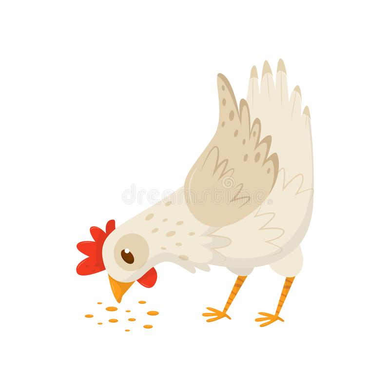 Hen eating seeds. Domestic fowl with bright red scallop and orange feet. Flat vector icon of farm bird. Poultry farming stock illustration