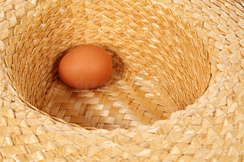 Hen egg. In strawy hat stock image