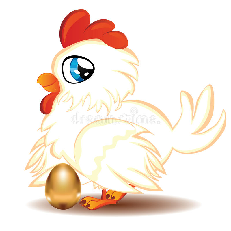 Hen with Golden Egg. Cute cartoon white hen with blue eyes and gold egg royalty free illustration