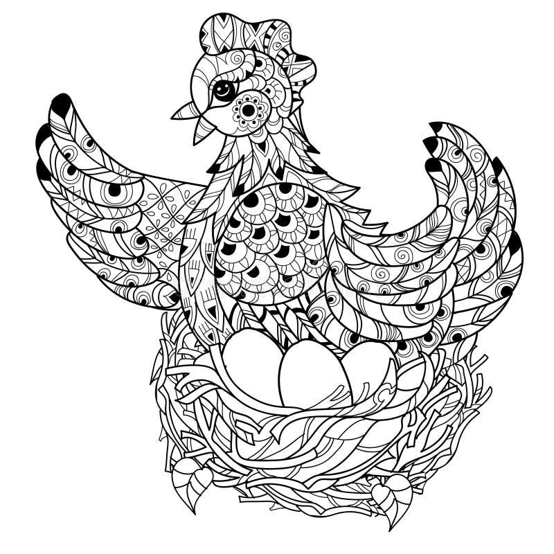 Hen. Hand drawn decorative farm animal royalty free illustration