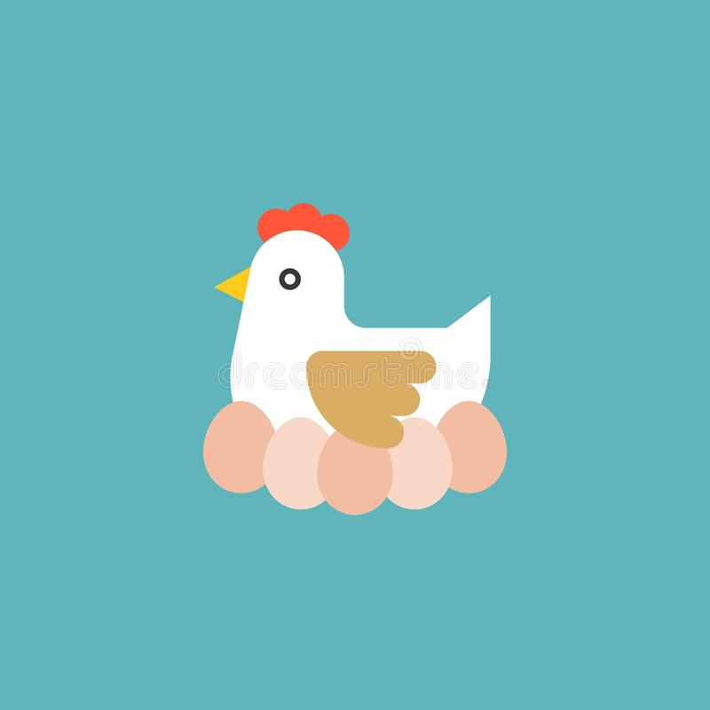 Hen hatching egg. Farm and agriculture concept flat icon stock illustration