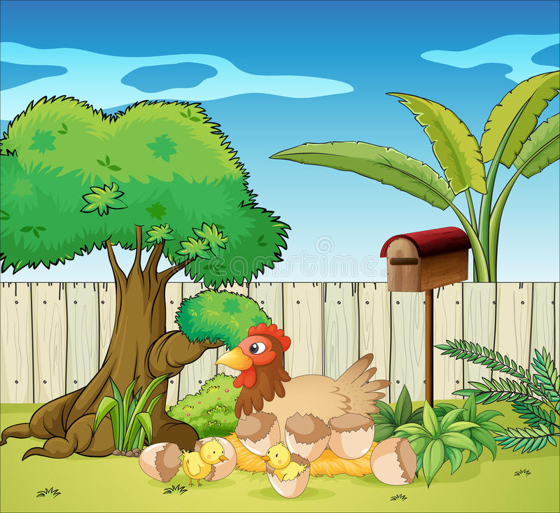 A hen and her chicks royalty free illustration
