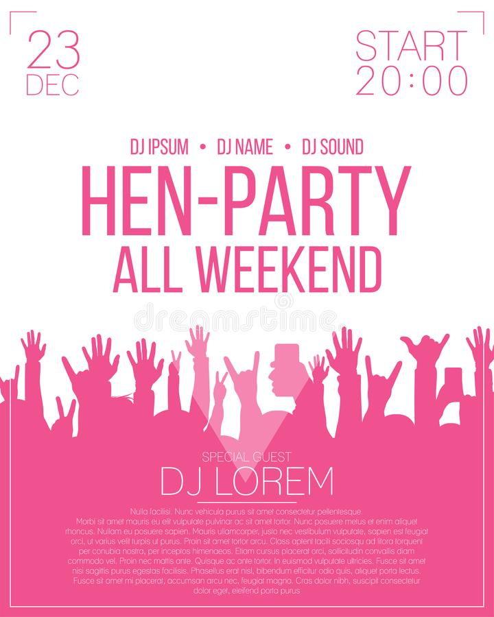 Hen-party flyer or poster design template. stock illustration