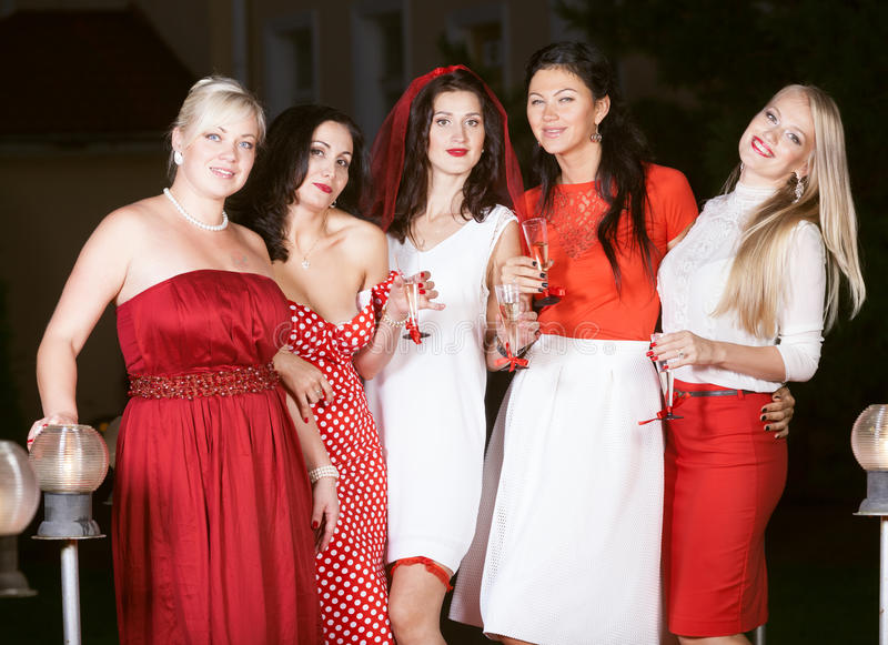 Hen party: red and white. Hen party: bridesmaids in red and white stock images
