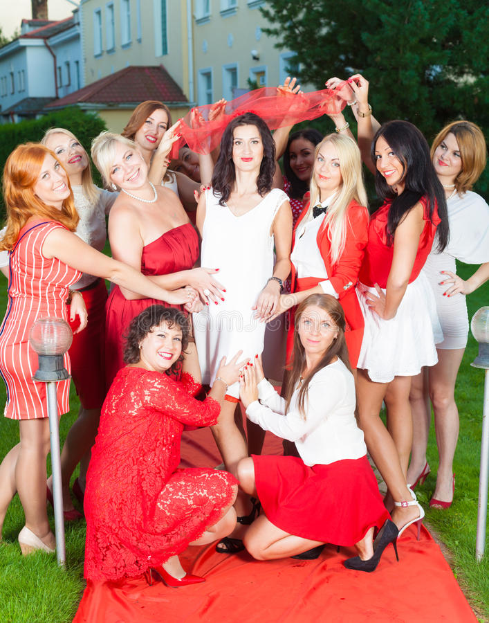 Hen party. In red and white style royalty free stock photo