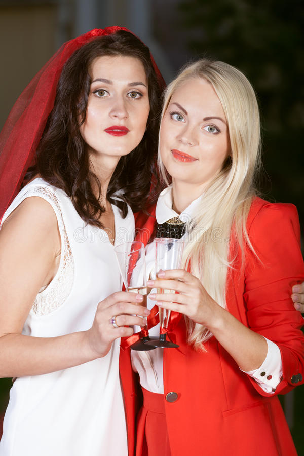 Hen party: white and red. Hen party: bridesmaid in white and red stock photography