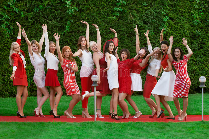 Hen party: white and red. Hen party: bridesmaid in white and red royalty free stock photo