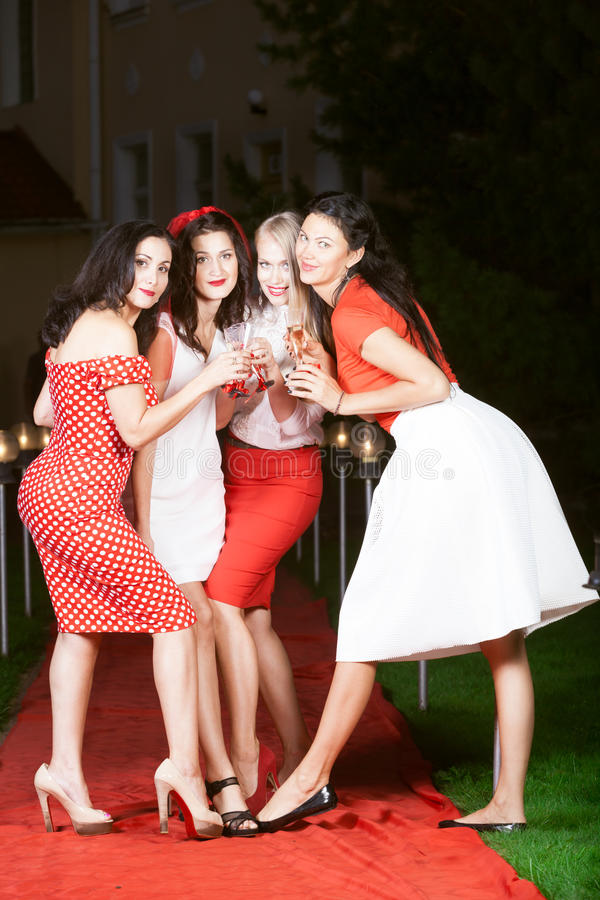 Hen party: white and red. Hen party: bridesmaids in white and red stock photo