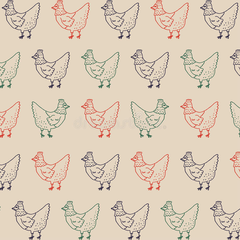 Hen Retro Pattern. Farm Chicken Illustration Vector Background. stock image