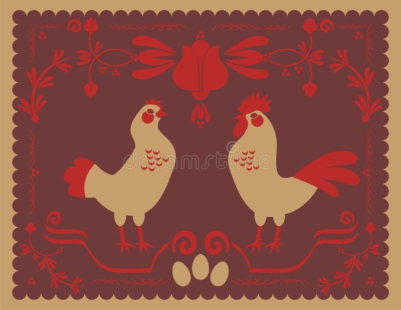 Download Hen and Rooster stock vector. Image of birds, eggs, napkin - 24335023