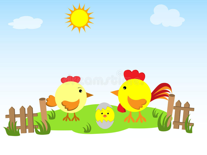 Hen, rooster and chicken on the green grass stock illustration
