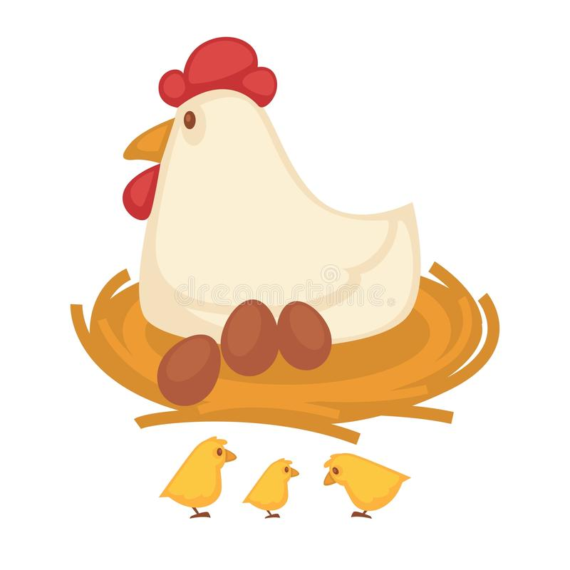 Hen sitting eggs and chicken hatch on nest farm fowl vector icon. Chicken sitting on eggs and hatching chicks in nest. Farm coop or farmer household of fowl or stock illustration